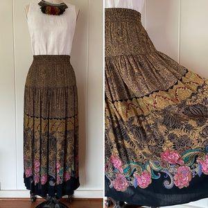 Vintage 80s Paisley Print Maxi Skirt L/XL